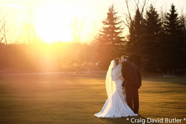 Sunset Wedding Photo Detroit Michigan