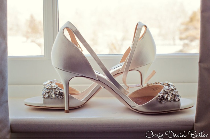 brides wedding shoes - detail photo