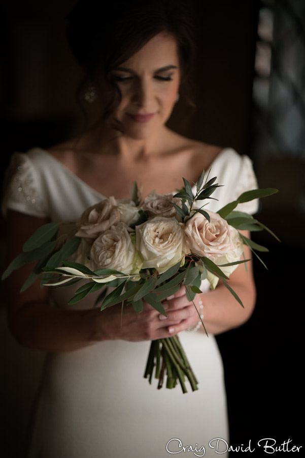 photo of bride with her bouquet.