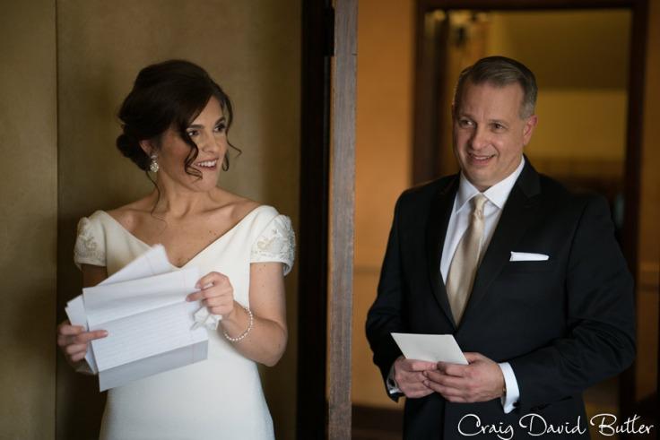 Bride groom around door.