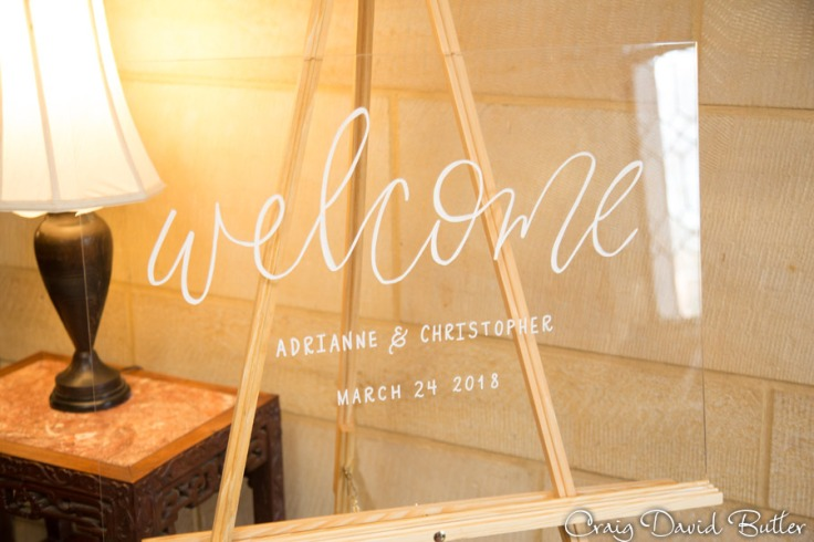 Welcome sign, wedding detail photo.