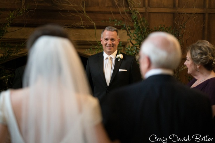 Groom's reaction during the processional.