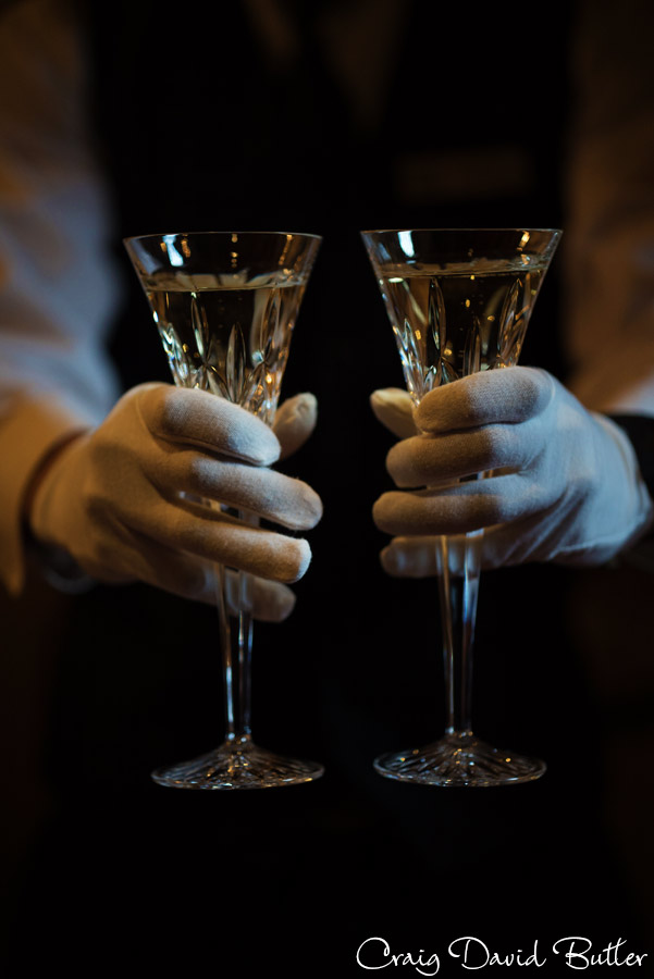detail photo of the wedding toasting flutes.
