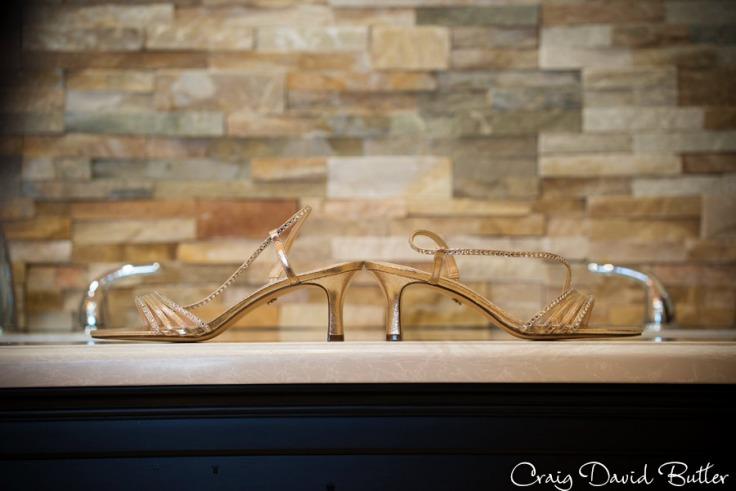 Brides shoes detail photo