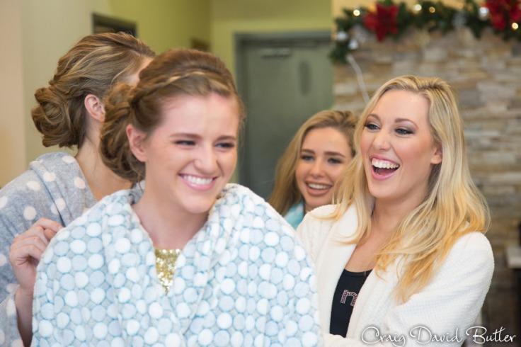 Bride & Bridesmaids having fun.