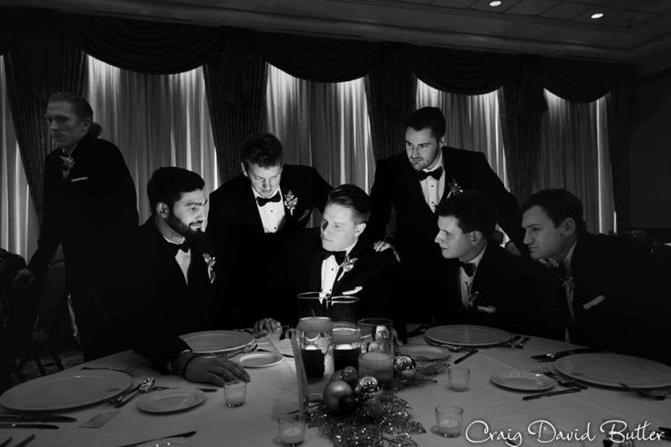 creative groom and groomsmen photo