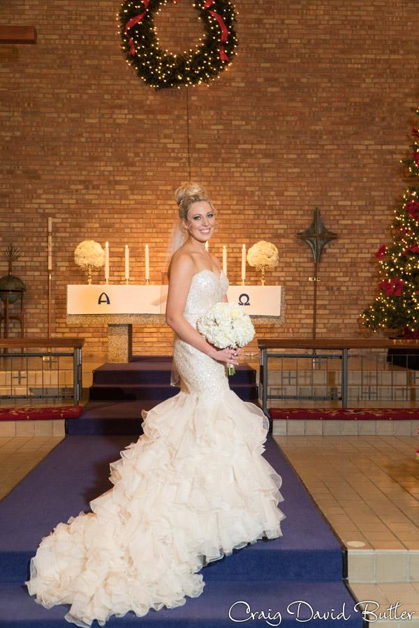 Bride formal portrait at the altar in Birmingham MI