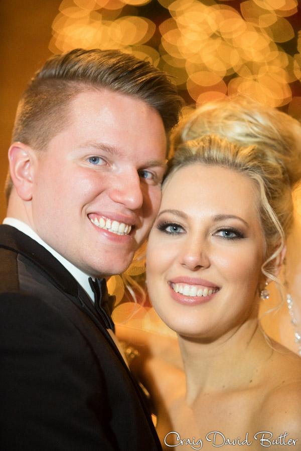 bride and groom portrait with bokeh in Birmingham MI