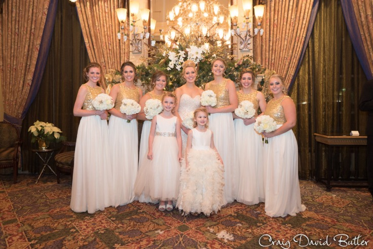 Shannon and her bridesmaids at the Reserve in front of the decorated fireplace.