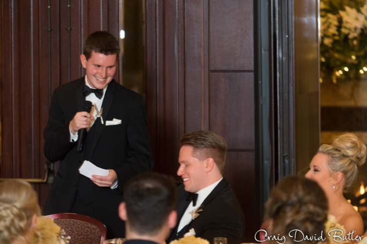 grooms brother does a Best Man toast at the reception.