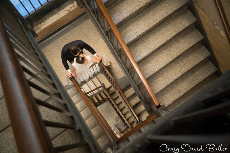 Romantic moment in the Staircase