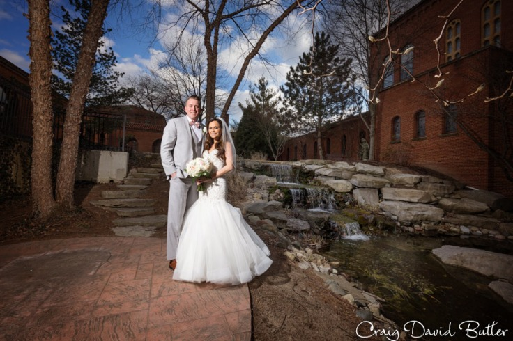 Photo of bride & Groom at the waterfall garden