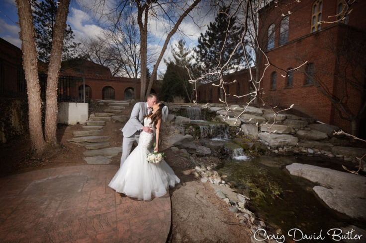 Dip at the waterfall garden - bride & groom