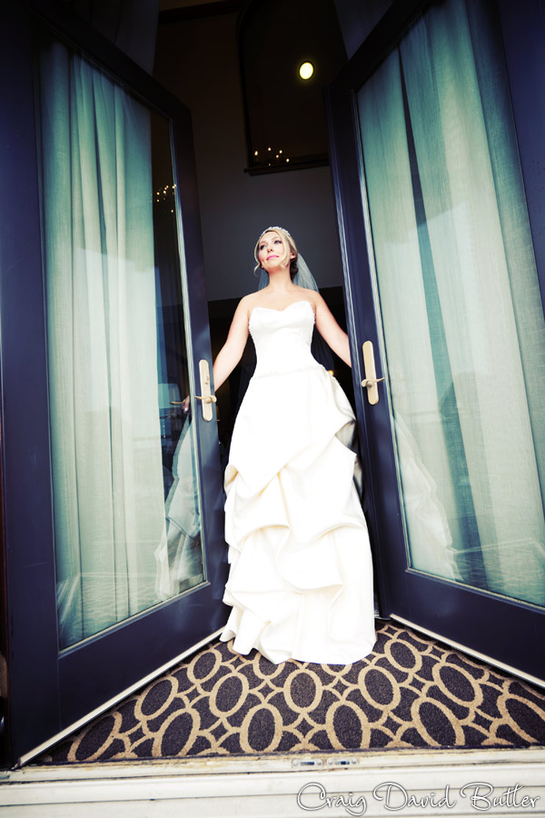 Bride portrait on the balcony in the Presidential suite at the Inn at St. John's