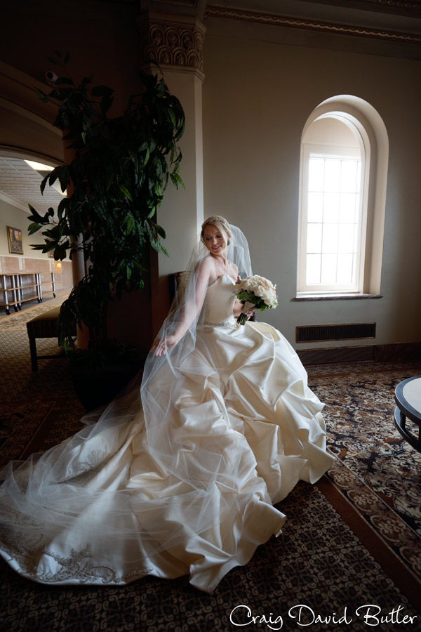 bride portrait on the second floor of Chapel at the inn at St. John's