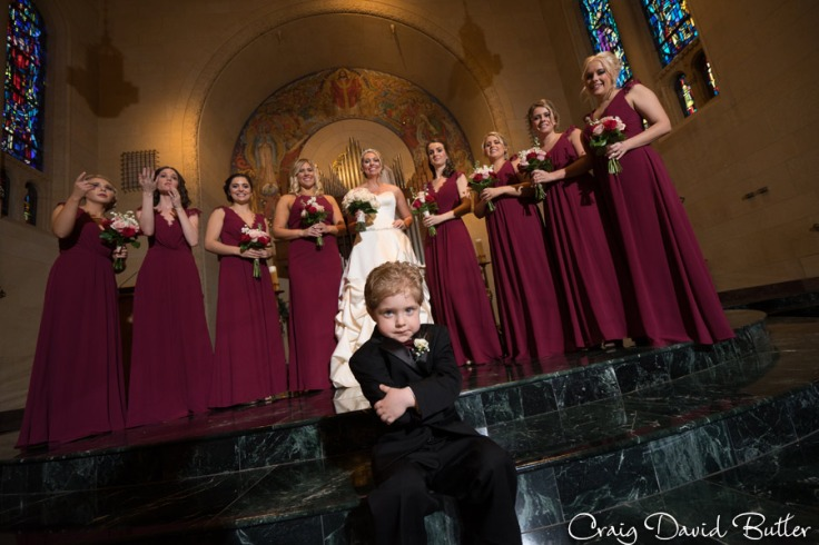 bridesmaids photo with ring bearer