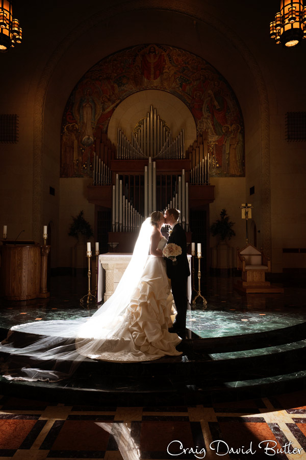 Bride and groom portrait at the altar