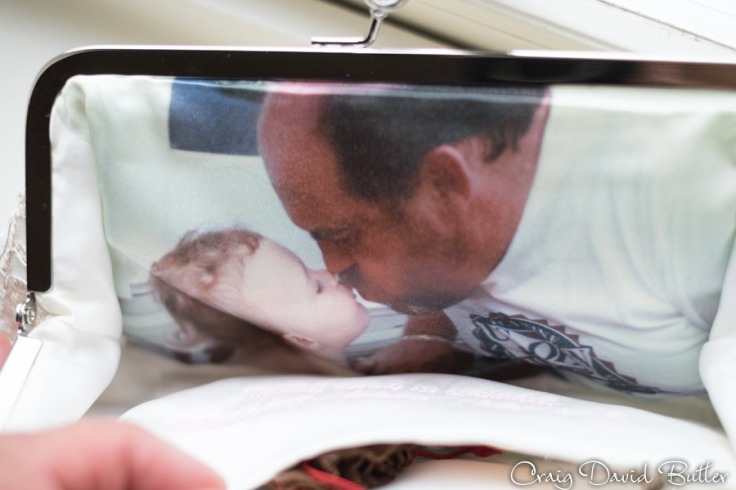 Brides clutch purse  with photo of dad and bride