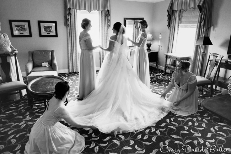 Bride getting ready at the Dearborn Inn
