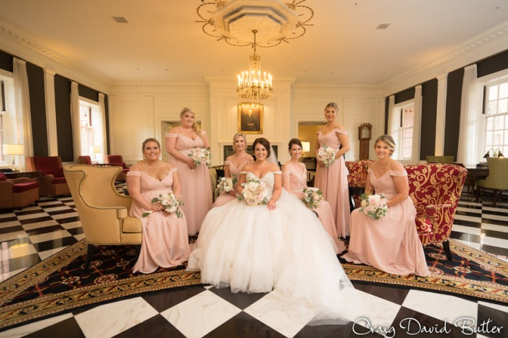 Bride and Bridesmaids at the Dearborn Inn Lobby