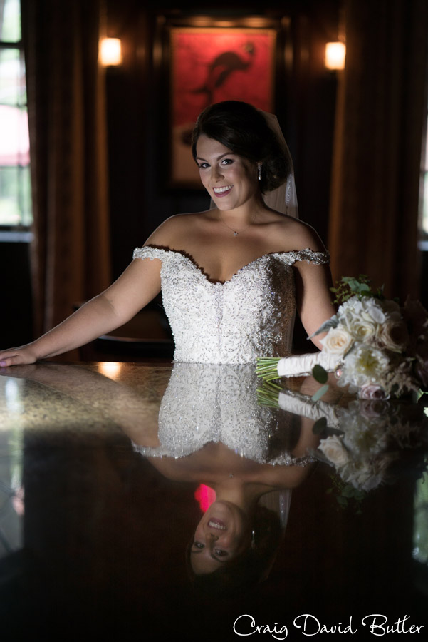 Bride portrait in the bar at the Dearborn Inn
