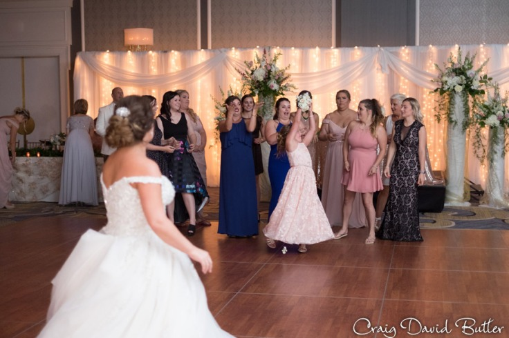 Bouquet Toss in the main ballroom at the dearborn Inn