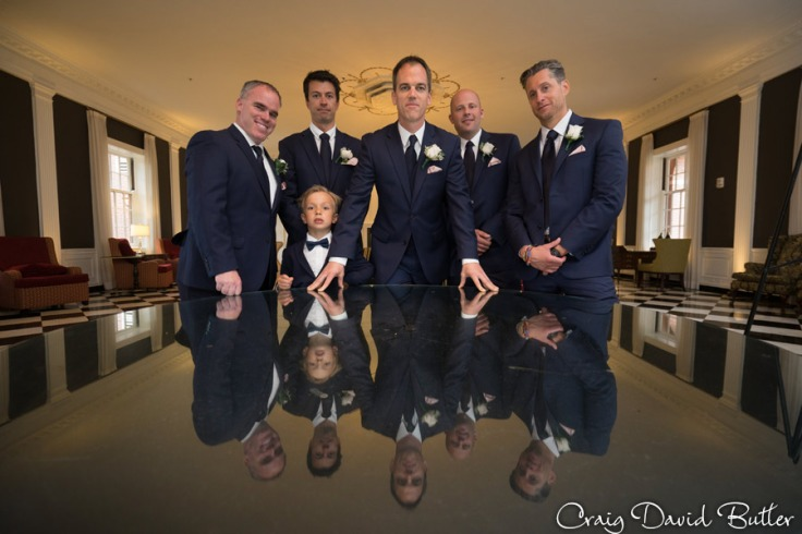 Groom with his groomsmen in the lobby of the Dearborn Inn