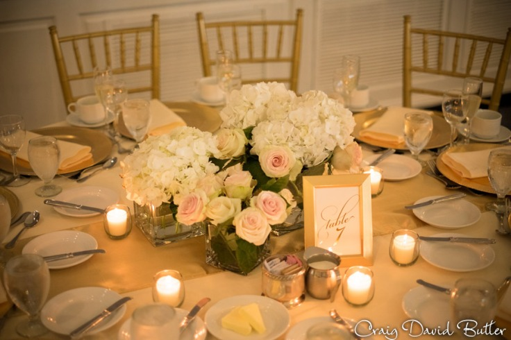 Wedding Reception table Setting in the Alexandria Ballroom