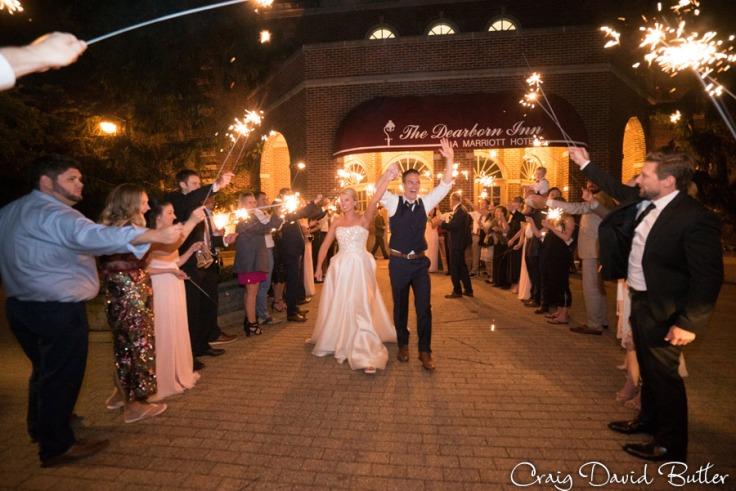 Bride & Groom sparkler exit at the Dearborn Inn.