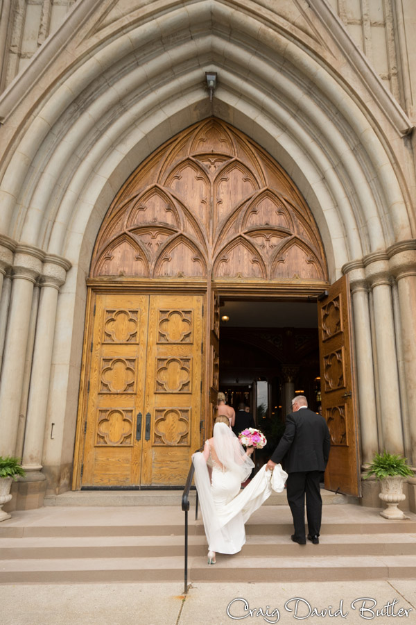 Bride enter church with her father
