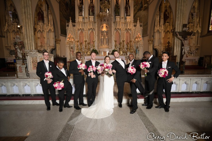 Funny portrait of the Groomsmen with bride