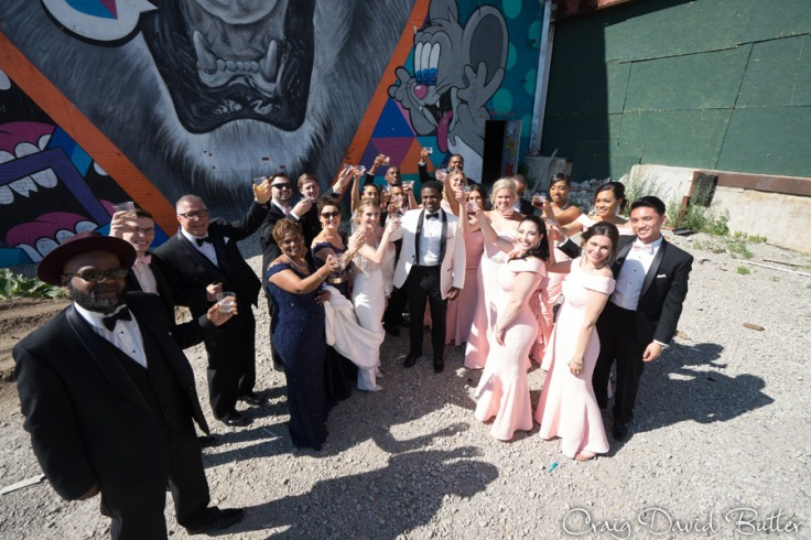 Photo of the Wedding Party at Eastern Market toast in Detroit MI