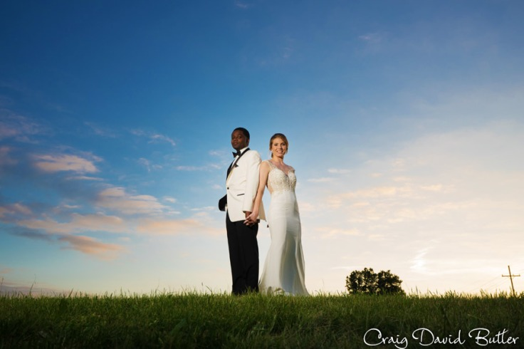Portrait of Bride & Groom Sunset outside of Enchantment Banquet Center in Shelby Twp MI