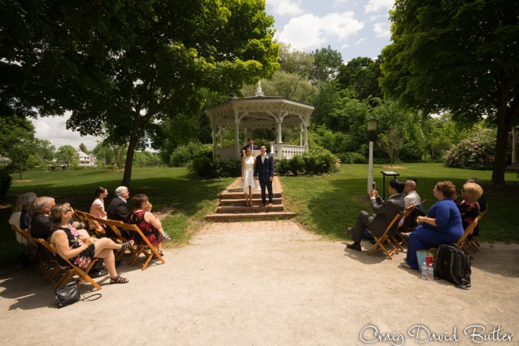 Gazebo at Mill Race village during the wedding photos by Craig David Butler