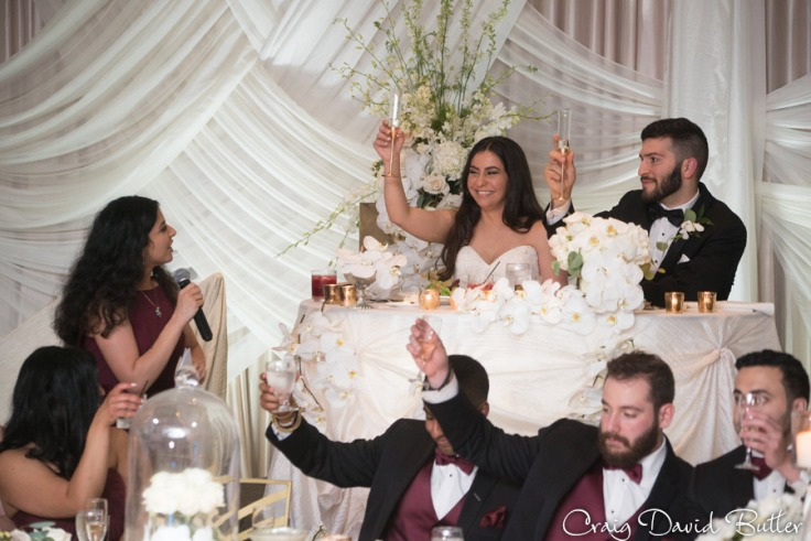 Maid of Honor toast The Henry Wedding reception in Dearborn by Craig David Butler
