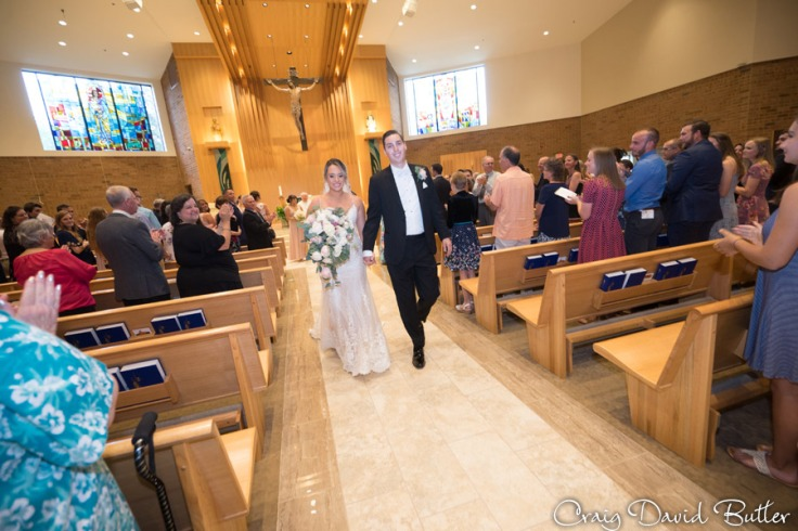 Bride and Groom exit St. John Neumann