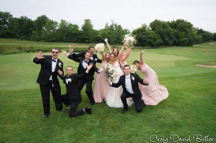 Bridal party portrait having fun