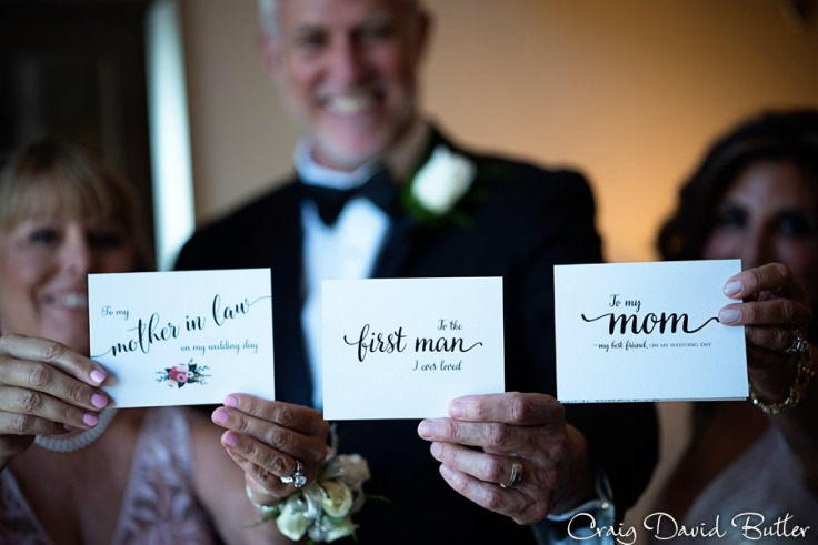 Cards to the parents from bride & Groom
