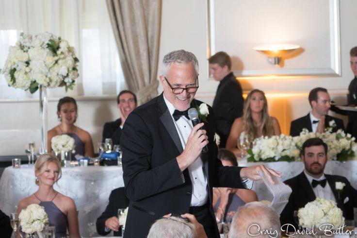 Father of the bride toast during the grand ballroom reception at St. JOhn's