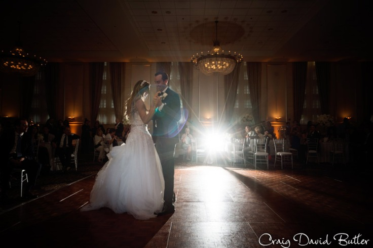 Bride & Groom during their first dance in the grand Ballroom at the Inn at St. John's in Plymouth MI by Craig David Butler
