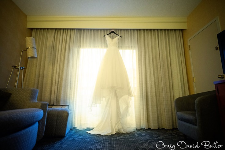 Brides Gown in the room at the Courtyard by Marriot