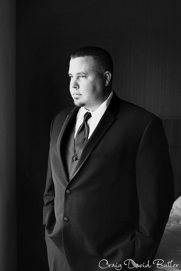 Groom formal wedding portrait at the Suburban Collection / Diamond Center Novi MI