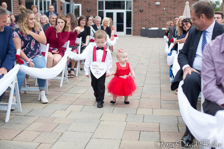 Will & Gracie - Ring bearer and flower girl on their procession at the patio, Suburban showplace, Diamond Center