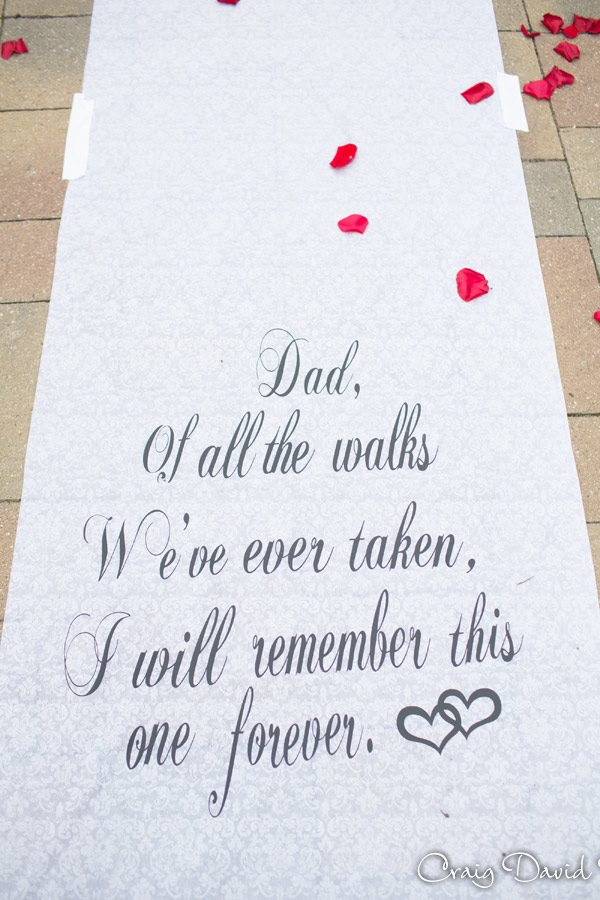 Wedding aisle runner at the Diamond Center in Novi MI