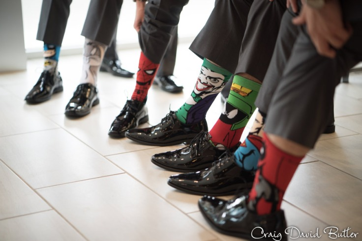 Groom selection of socks for the Groomsmen in Brighton MI