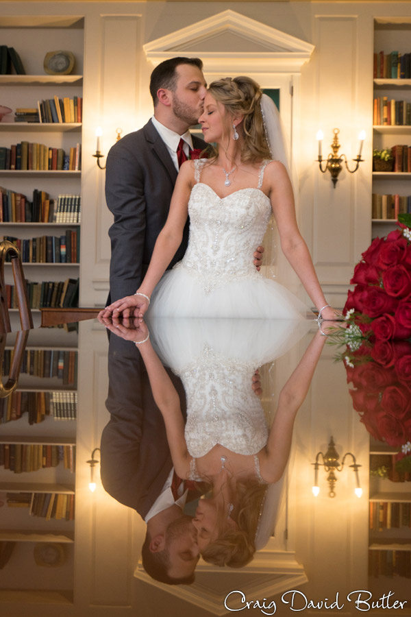 Bride & Groom Portrati in the Library at Lovett Hall at the Henry Ford