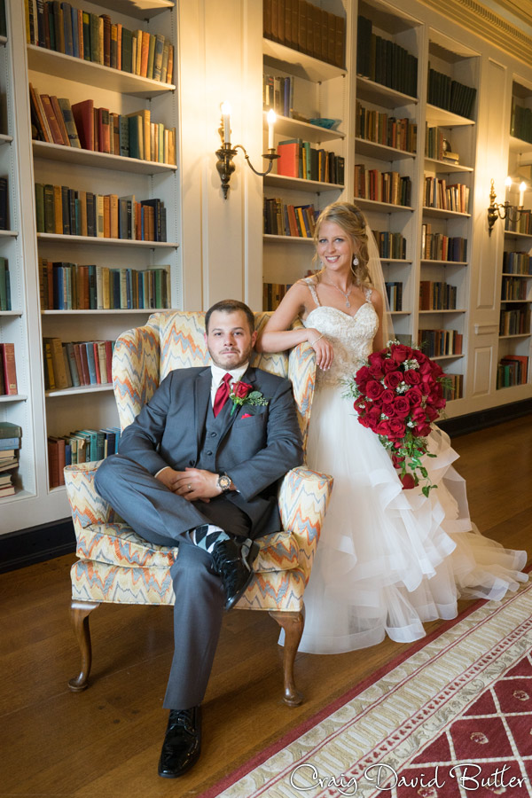 Bride & Groom Portrait in the Library at Lovett Hall at the Henry Ford