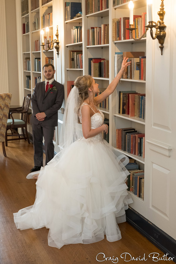 Bride & Groom Portrait in the Library at Lovett Hall at the Henry Ford in Dearborn MI by Craig David Butler