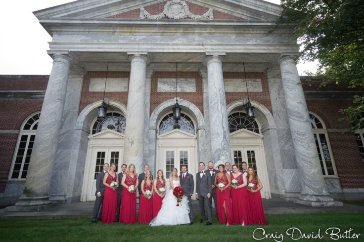 Bridal Party photo outside the Henry Ford Museum in Dearborn by Craig David Butler
