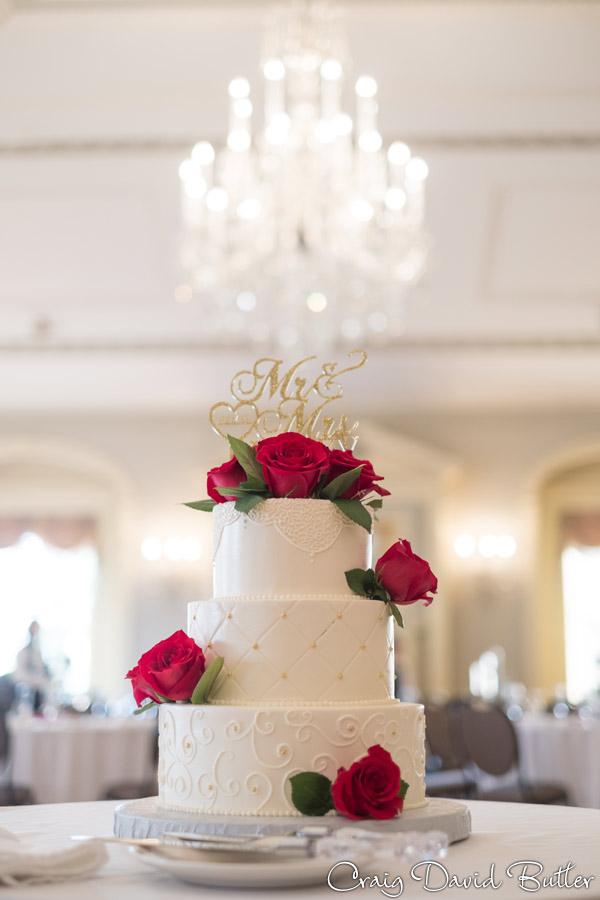 Wedding cake in Lovett Hall in Dearborn